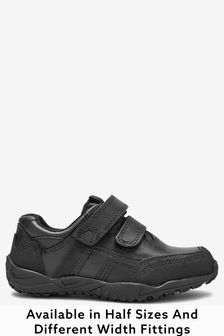 Black Sporty Double Strap Shoes (Older Boys)