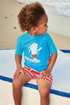 Blue/Red Diving Dog Two Piece Swim Set (3mths-6yrs)