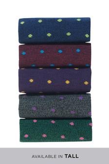 Multi Small Spot Socks Five Pack