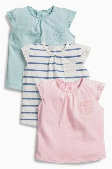 Stripe/Pink/Green T-Shirts Three Pack (0mths-2yrs)