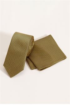 Signature Gold Tie And Pocket Square
