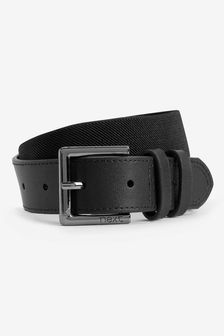 Black Leather And Elastic Belt