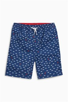 Navy Geo Shark Shorts (3-16yrs)
