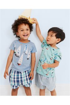 Multi Vintage Boat Short Pyjamas Two Pack (9mths-8yrs)