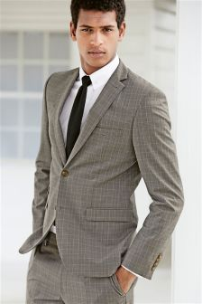 Light Grey Cotton Check Slim Fit Suit Jacket