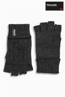Grey Twist Thinsulate® Fingerless Gloves