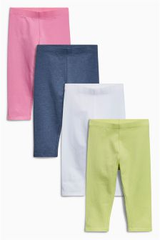 Green/White/Pink/Blue Cropped Leggings Four Pack (12mths-6yrs)