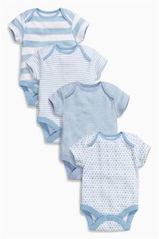 Blue Short Sleeve Bodysuits Four Pack (0mths-3yrs)