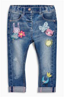 Denim Mid Blue Badge Embellished Jeans (3mths-6yrs)