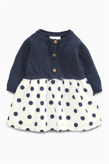 Navy Knit Spot Dress (0mths-2yrs)