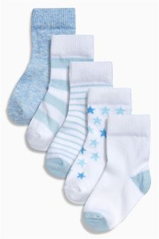 Blue Socks Five Pack (Younger Boys)