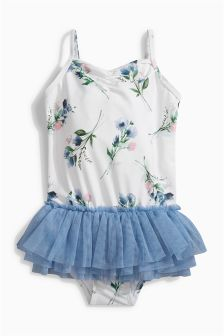 Ecru Floral Tutu Swimsuit (3mths-6yrs)