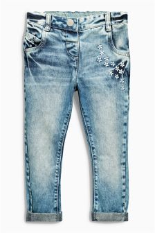 Light Blue Flower Embroidered Jeans (3mths-6yrs)