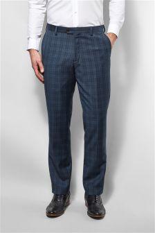 Blue Check Slim Fit Suit: Trousers