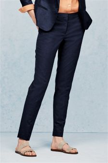 Navy Premium Linen Blend Slim Trousers