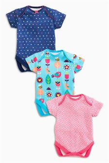 Three Pack Turquoise Geo Floral Short Sleeve Bodysuits (0mths-2yrs)
