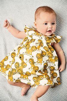 Ecru/Yellow Lion Print Prom Dress And Knickers Set (0mths-2yrs)