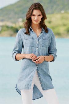Light Blue Longline Shirt