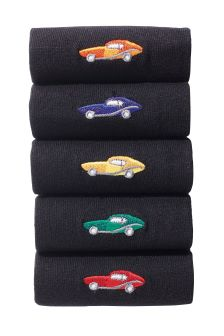 Black Sports Car Embroidered Socks Five Pack
