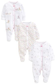 White Bunny Sleepsuits Three Pack (0mths-2yrs)