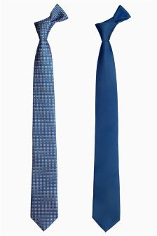 Two Pack Blue Skinny Ties