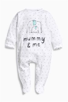 White Mummy & Me Sleepsuit (0-18mths)