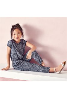Navy Print Jumpsuit (3-16yrs)