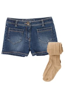 Mid Blue Denim Shorts With Tights (3-16yrs)