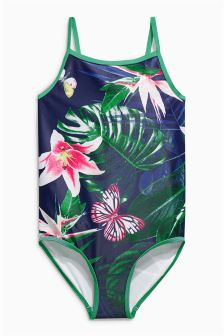 Raspberry Tropical Print Swimsuit (3-16yrs)