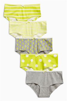 Grey/Yellow Hipsters Five Pack (3-16yrs)