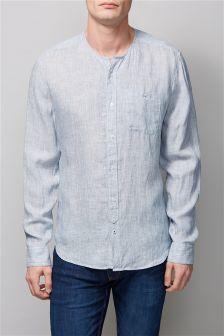 Blue Stripe Linen Blend Long Sleeve Collarless Shirt