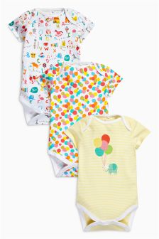 Bright All-Over Print Short Sleeve Bodysuits Three Pack (0mths-2yrs)