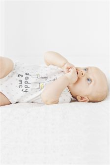 White Daddy And Me Short Sleeve Bodysuit (0-18mths)