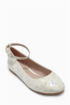 Ivory Flower Bridesmaid Shoes (Older Girls)