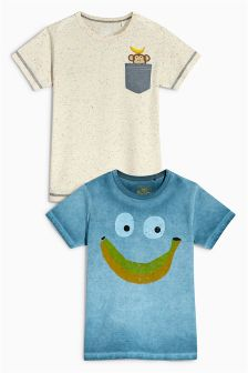Blue Banana Print T-Shirts Two Pack (3mths-6yrs)