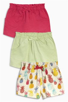 Pineapple Print, Lime & Coral Shorts Three Pack (3mths-6yrs)