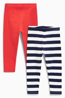 Coral/Stripe Leggings Two Pack (3mths-6yrs)