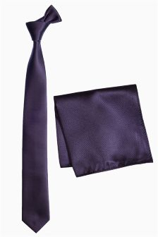Plum Textured Tie And Pocket Square Set