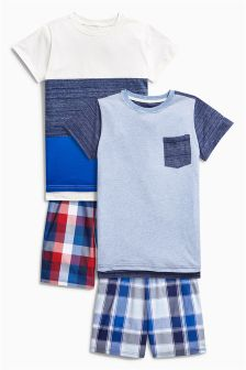 Blue Check Short Pyjamas Two Pack (3-16yrs)