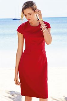Red Pocket Shift Dress