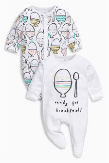Bright Egg Print Sleepsuits Two Pack (0mths-2yrs)