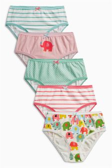 Multi Elephant Briefs Five Pack (1.5-12yrs)
