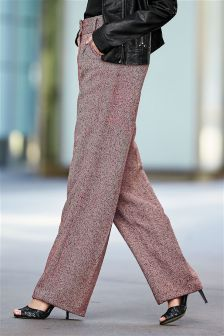 Berry Herringbone Slouch Trousers