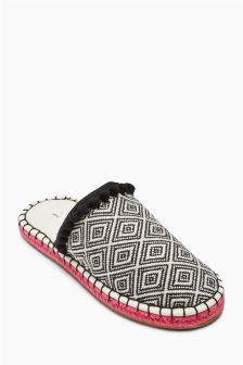Pattern Espadrille Mule Slippers