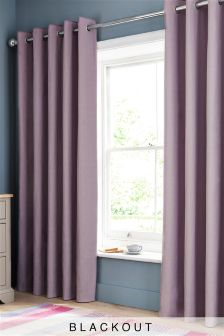 Lilac Blackout Cotton Eyelet Curtains