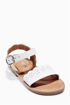 Scallop Leather Sandals (Younger Girls)