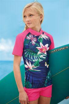 Navy/Pink Tropical Print Sunsafe 2 Piece Set (3-16yrs)