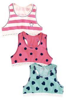Pink/Blue Crop Tops Three Pack (Older Girls)