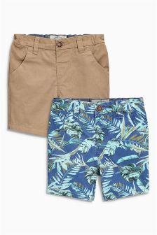 Blue/Tan Chino Shorts Two Pack (3mths-6yrs)
