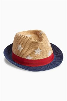 Star Print Straw Trilby (Younger Boys)